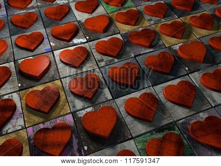 Mosaic Of Valentine Hearts Made From Red Wood On Multi-colored Painted Splattered And Grunge Texture