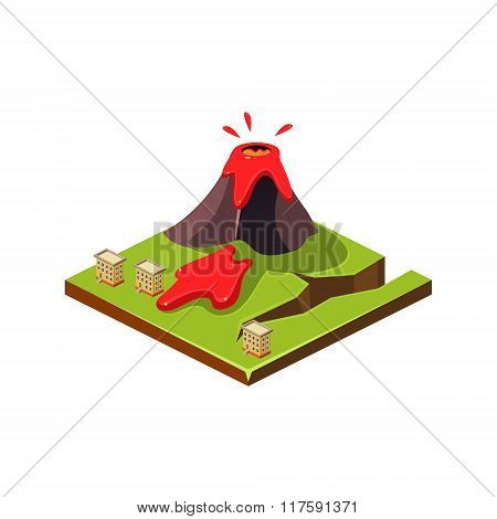 Volcano Eruption and Lava. Natural Disaster Icon. Vector Illustration