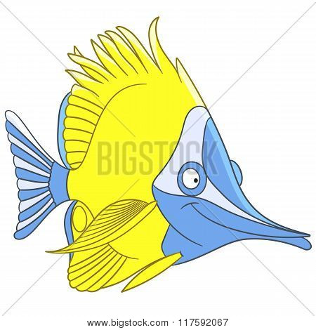 Cute Cartoon Longnose Butterfly Fish