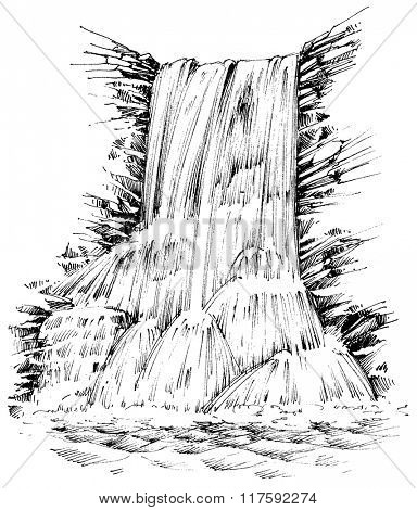 Mountains waterfall graphic illustration