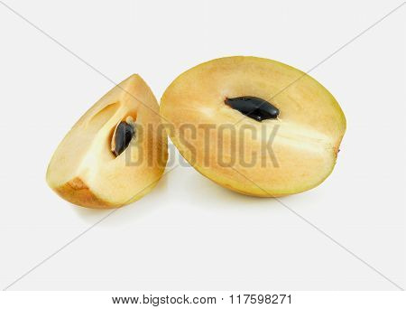fresh slice sapodilla fruits on the white background