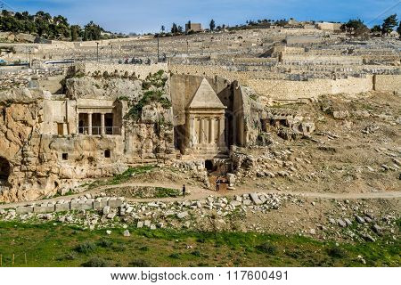 JERUSALEM, ISRAEL - JANUARY 5: Kidron Valley or Kings Valley Tomb of Zechariah near the Old City of Jerusalem, Israel on January 5, 2016