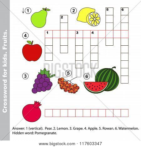 Fruit crossword for kids.