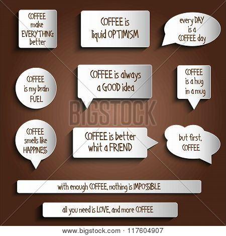 Tags, Labels, Buttons, Stickers With Message About Coffee
