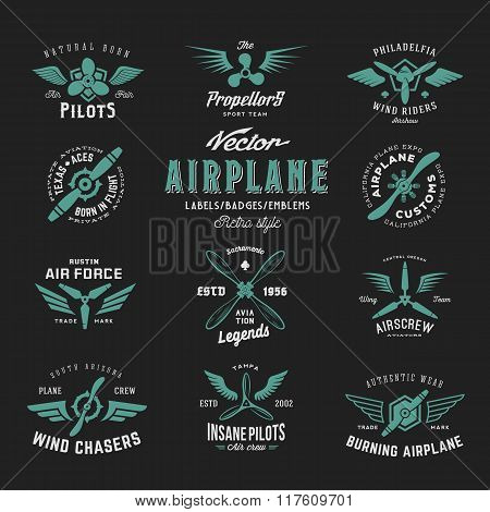 Vintage Vector Airplane Labels Set with Retro Typography. Shabby Texture on Dark Background