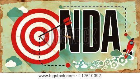 NDA Concept. Poster in Flat Design.