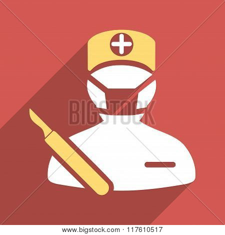 Surgeon Flat Square Icon with Long Shadow