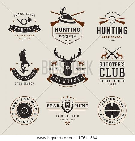 Set of Hunting and Fishing Labels, Badges, Logos Vector Design Elements Vintage Style. Deer Head, Hunter Weapons. Advertising Hunter Equipment. Eagle Logo, Deer Logo, Rifle Logo, Camp Logo.