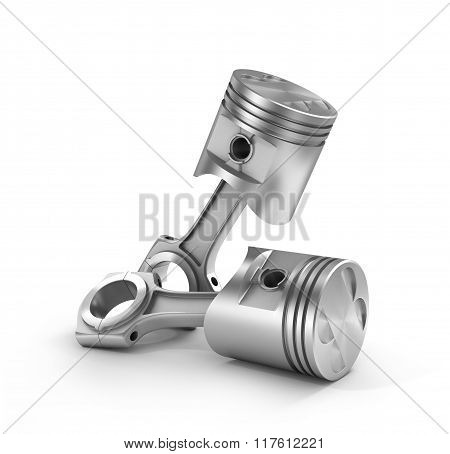 3D Illustration Of Two Pistons Isolated On A White Background.