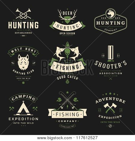 Set of Hunting and Fishing Labels, Badges, Logos Vector Design Elements Vintage Style. Deer Head, Hunter Weapons. Advertising Hunter Equipment. Fishing Logo, Deer Logo, Rifle Logo.