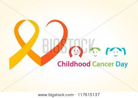 Childhood cancer day vector illustration. Cancer Ribbon with heart concept.