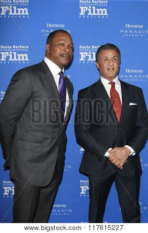 SANTA BARBARA - FEB 9: Carl Weathers, Sylvester Stallone at the Montecito Award at the Arlington Theatre at the 31st Santa Barbara International Film Festival on February 9, 2016 in Santa Barbara, CA