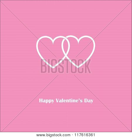 Happy Valentine's Love Pink Card With Two Harts