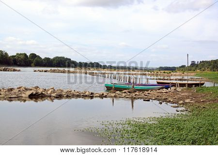 landscape of Bouchemaine, La Pointe, confluence of the Maine and Loire (France)