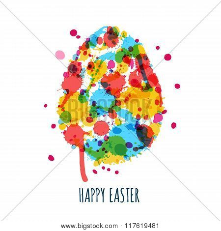 Easter Greeting Card With Multicolor Egg Made From Watercolor Splashes, Stains And Blots.