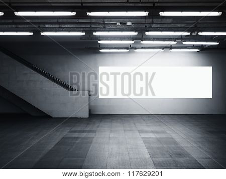 Mock Up Blank Banner Billboard Media Light Box Interior Modern Architecture With Staircase