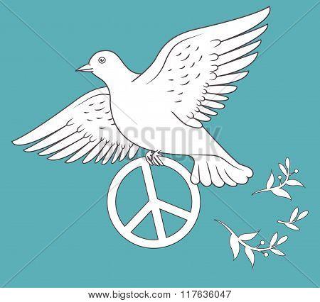 White Dove In Flight Holding An Antiwar Sign On Blue Background. Vector Illustration. Antiwar Protest Sign. Antiwar Peace Sign. Antiwar Symbols. Antiwar Picture. Antiwar Movement. Antiwar Poster.