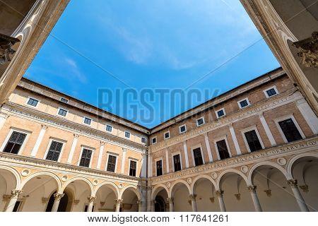 Ducal Palace Courtyard In Urbino, Italy