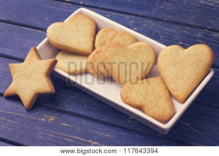 Sugar cookies on the white plate