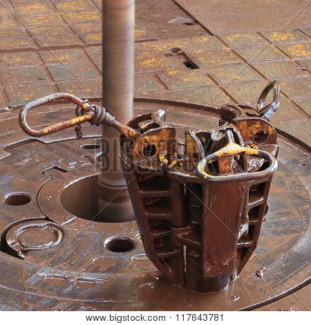 Slip On The Rotary Table While Drilling Oil Well And Pipe Being Rotated