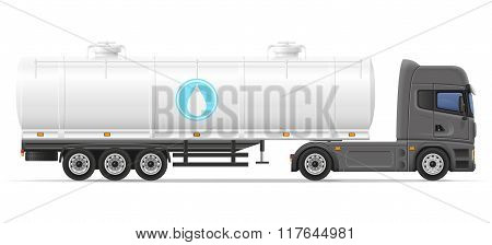 truck semi trailer with tank for transporting liquids vector illustration isolated on white background poster