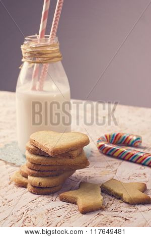 Sugar cookies with milk bottle