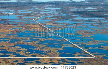 Oil Rig On Swamp, Top View