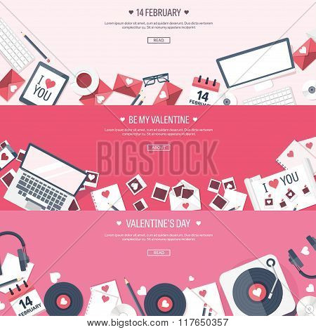 Vector illustration. Flat background with envelope, laptop, vinyl, photos, documents, papers. Love,