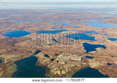 Oil Rig On Tundra, Top View