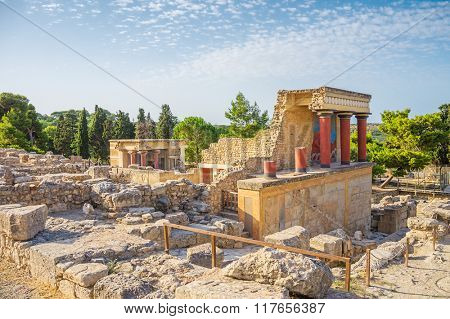 Knossos Palace ruin in sunny day, Crete, Greece.