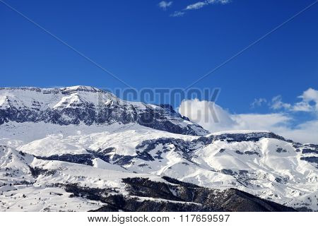 Snowy Mountains At Nice Sun Day
