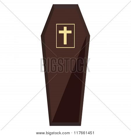Brown Coffin With Cross
