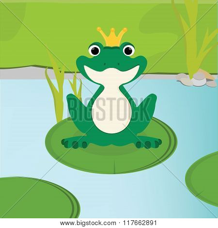 Green Frog In Crown