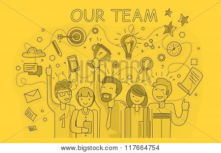 Our success team linear design. Teamwork and business team, our team business, office team, business success, work people, company and leadership, businessman and worker, resource office illustration poster
