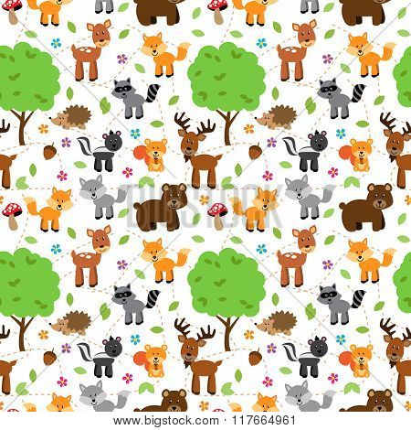 Seamless, Tileable Forest Animals Vector Background Pattern