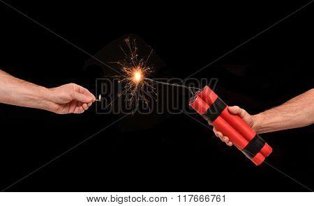 Lighting on a dynamite stick.