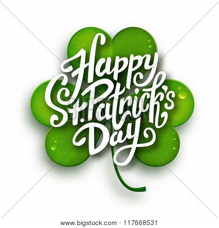 Happy Saint Patrick's Day Vector Illustration, Handwritten Brush Pen Lettering On Green Realistic Sh