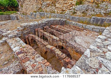 Hypocaust structure used to heat the water of the Caldarium room in the Roman Baths of the Wall. Conimbriga in Portugal, is one of the best preserved Roman cities on the west of the empire.