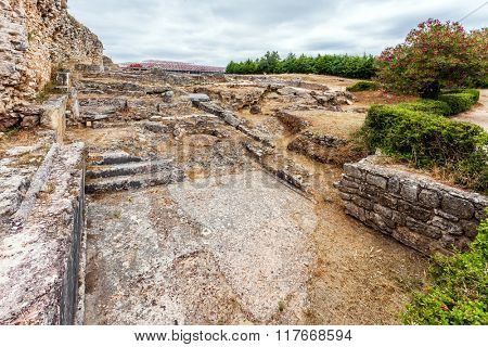 The Natatio area of the Roman Baths of the Wall. Conimbriga in Portugal, is one of the best preserved Roman cities on the west of the empire.