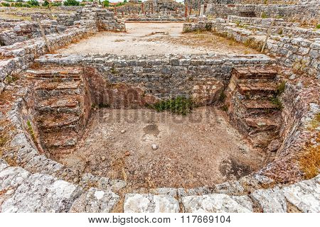 Pool in the private Roman Baths of the Cantaber House. Conimbriga in Portugal, is one of the best preserved Roman cities on the west of the empire.