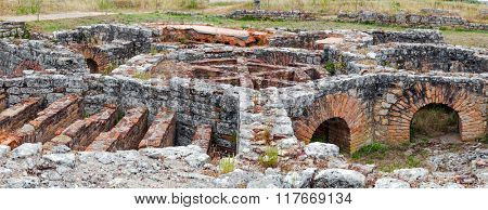 Hypocaust structure used to heat the Baths water of the Cantaber Domus House. Conimbriga in Portugal; is one of the best preserved Roman cities on the west of the empire.