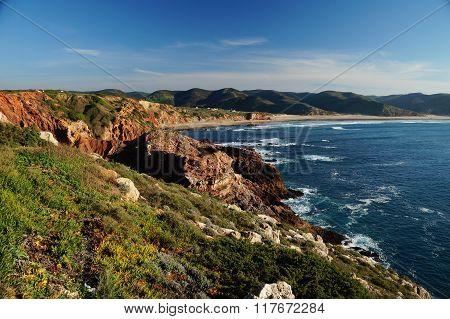 Rocky coastline at the Algarvian west coast.
