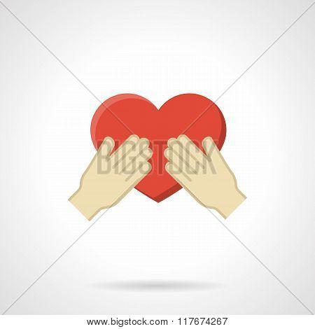 Cherish the love flat color vector icon