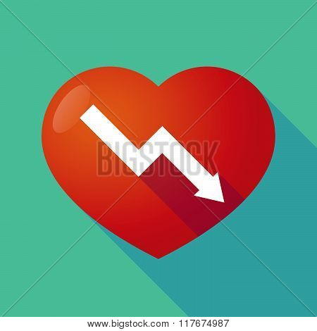 Long Shadow Red Heart With  A Descending Graph