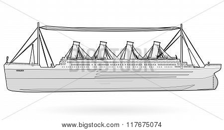 Big boat legendary colossal boat, black and white wire monumental big ship symbol.