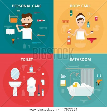 Man and woman hygiene icons vector set isolated on background