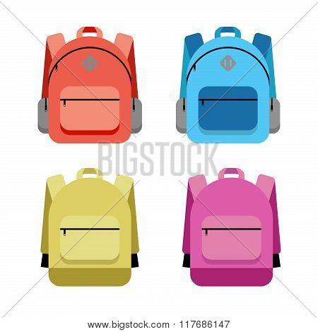 Schoolbag Flat Illustration. Bag For School