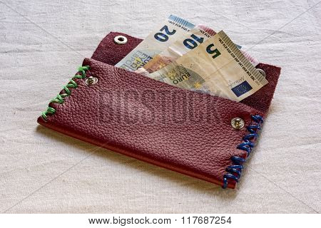 five, ten And twenty Euro Banknotes In A Purse