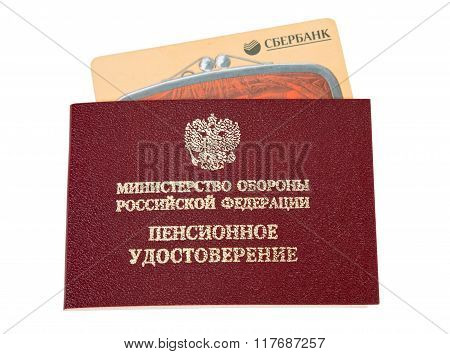Russian Pension Certificate And Credit Card Over White Background