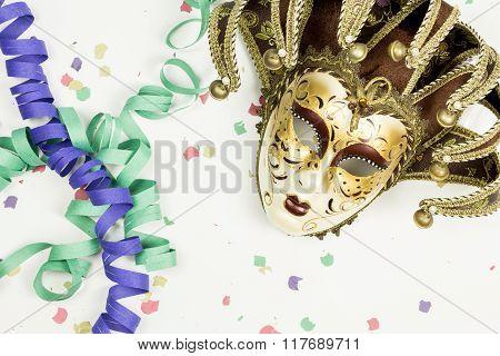 Carnival Venetian Mask, Confetti And Streamers